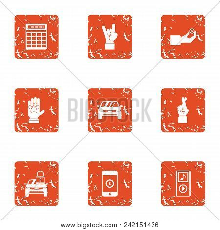 Concert Ticket Icons Set. Grunge Set Of 9 Concert Ticket Vector Icons For Web Isolated On White Back