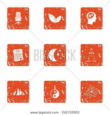 Brain Icons Set. Grunge Set Of 9 Brain Vector Icons For Web Isolated On White Background