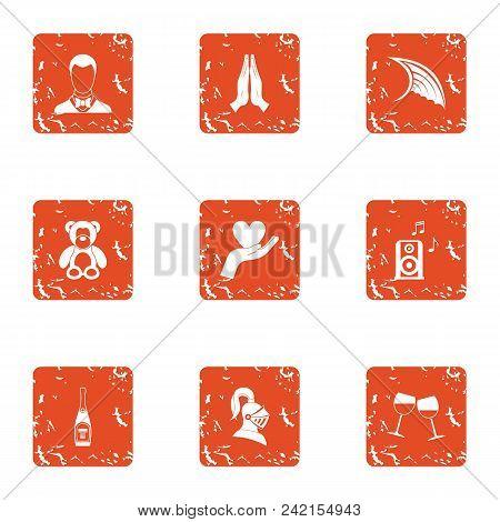 Romantic configuration icons set. Grunge set of 9 romantic configuration vector icons for web isolated on white background poster
