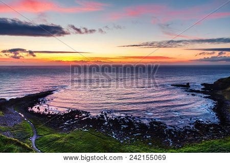 Northern Ireland, Uk. Panoramic View Of A Causeway Coast And Glens With Giants Causeway And Sea In N