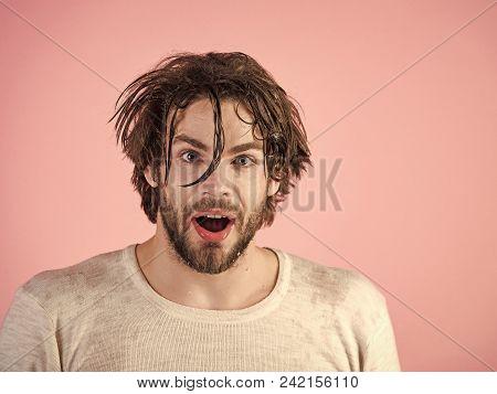 Man Looking At Camera. Handsome Man Face. Morning Washing, Wake Up, Everyday Life. Man Splash Water