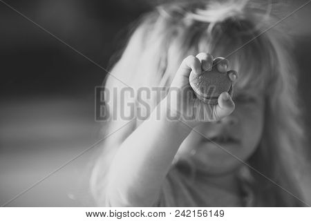 Child Childhood Children Happiness Concept. Childish Hand With Tasty Biscuits Holding By Fingers Of