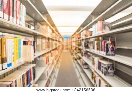 Abstract Blurred Background Of Modern Public Library In America