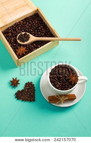 Wooden Box And Spoon With Coffee Seeds, Cup Of Coffee Beans Spice Cinnamon, Anis, Coffee    Heart Sh