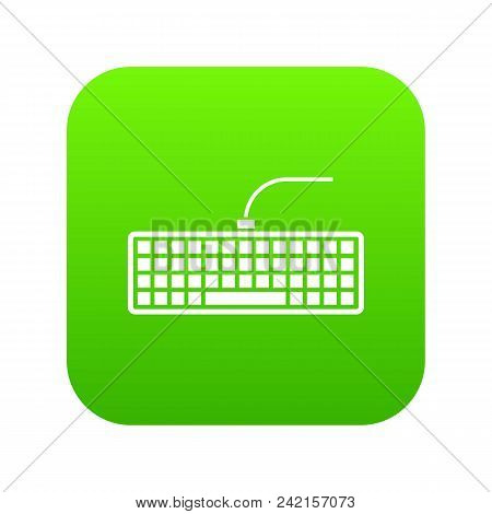 Black Computer Keyboard Icon Digital Green For Any Design Isolated On White Vector Illustration