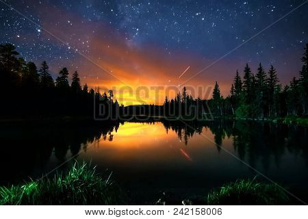 The Starry Sky, The Milky Way. Photo Of Long Exposure. Night Landscape.