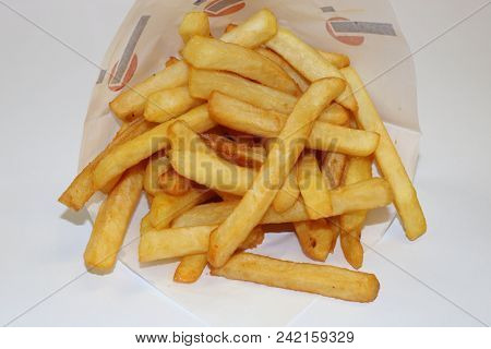 French Fries Isolated. Image Of French Fries On A White Background. French Fries Close Up.