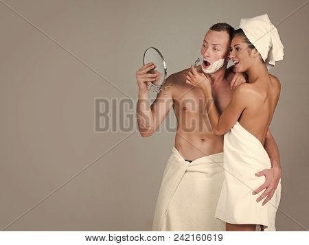 Nude Couple And Erotic Moments. Portrait Of Beautiful Young Smiling Woman And Man, Close-up. Couple