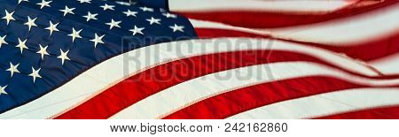 Stars & Stripes: Close-up Macro Of The Flag Of The United States Of America Flying