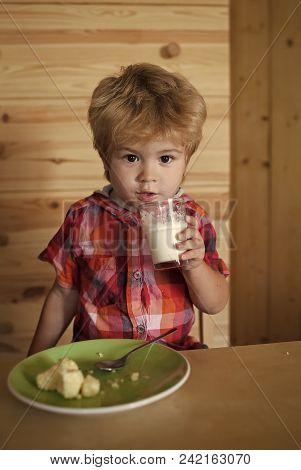 Child Childhood Children Happiness Concept. Healthy Food And Vitamin. Childhood And Happiness, Indep