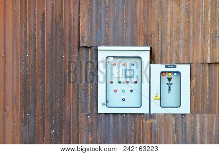 Main Distribution Board Or Mdb For Control Electricity On Rusted Galvanized Wall