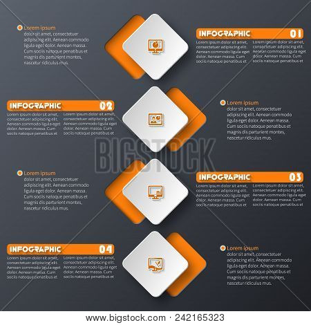 Vector Abstract 3d Paper Infographic Elements.dark Design.business Infographics