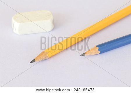 Pencil With Rubber Stationery For Writing On Background White