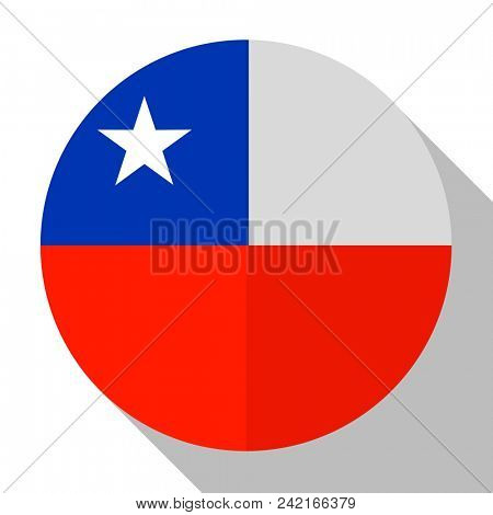 Flag Chile - round flatstyle button with a shadow.