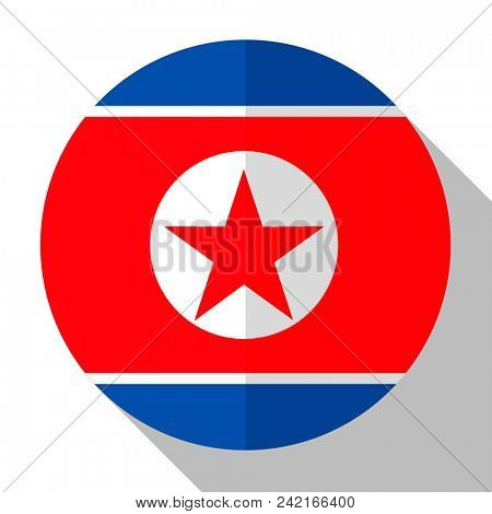 Flag North Korea - round flatstyle button with a shadow.