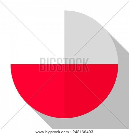 Flag Poland - round flatstyle button with a shadow.