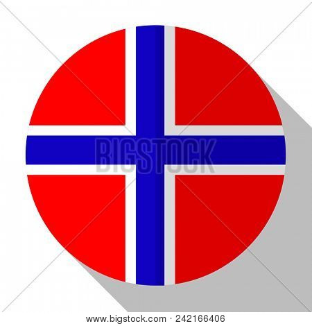 Flag Norway - round flatstyle button with a shadow.