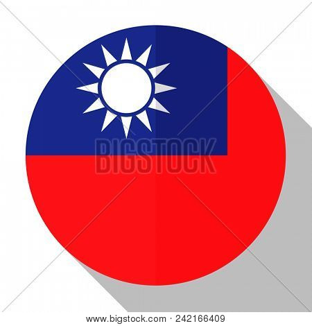 Flag Taiwan - round flatstyle button with a shadow.