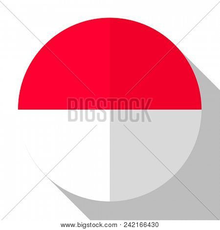 Flag Monaco - round flatstyle button with a shadow.