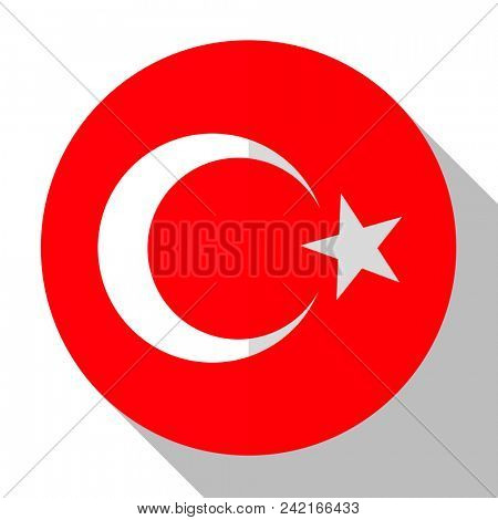 Flag Turkey - round flatstyle button with a shadow.