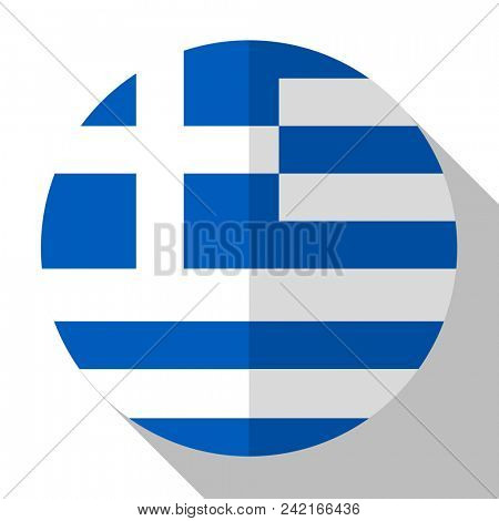 Flag Greece - round flatstyle button with a shadow.
