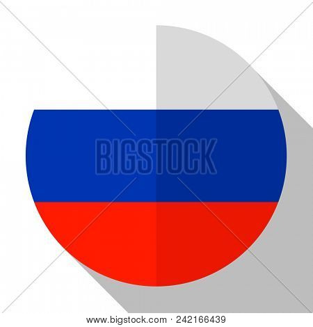 Flag Russia - round flatstyle button with a shadow.