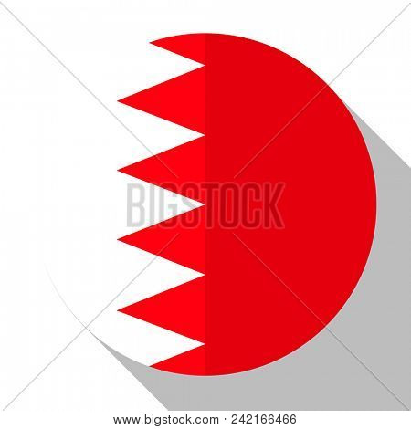 Flag Bahrain - round flatstyle button with a shadow.