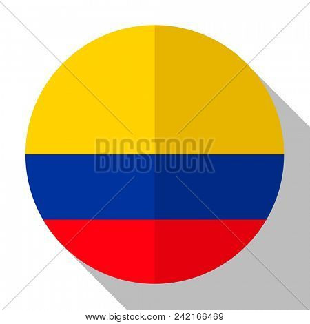 Flag Colombia - round flatstyle button with a shadow.