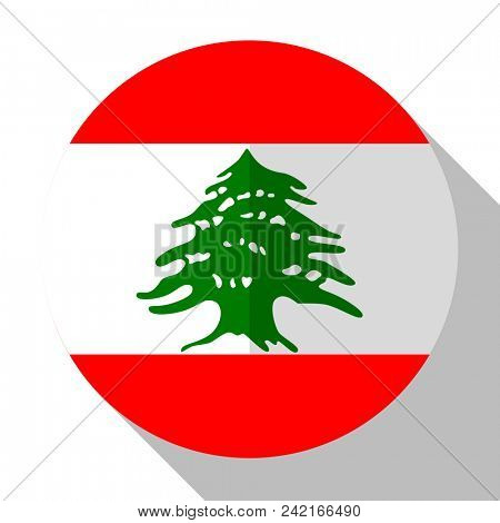 Flag Lebanon - round flatstyle button with a shadow.
