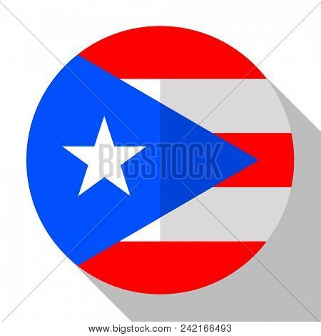 Flag Puerto Rico - round flatstyle button with a shadow.