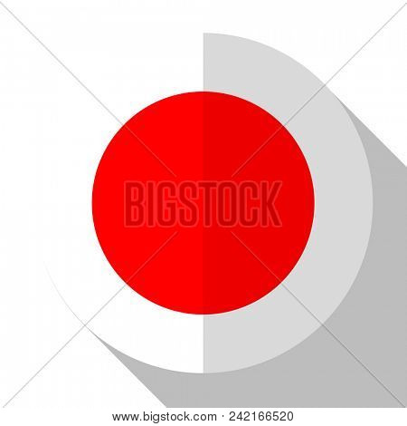 Flag Japan - round flatstyle button with a shadow.