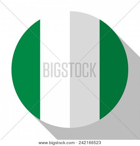 Flag Nigeria - round flatstyle button with a shadow.