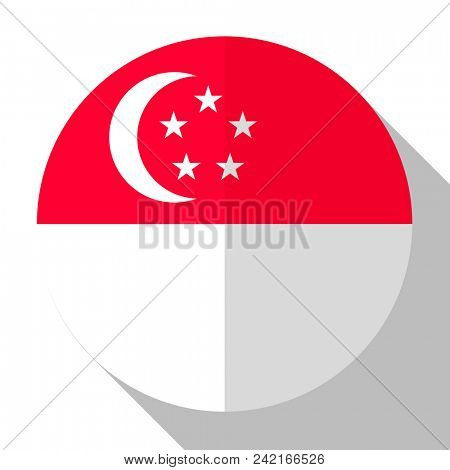 Flag Singapore - round flatstyle button with a shadow.