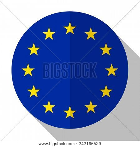 Flag European Union - round flatstyle button with a shadow.
