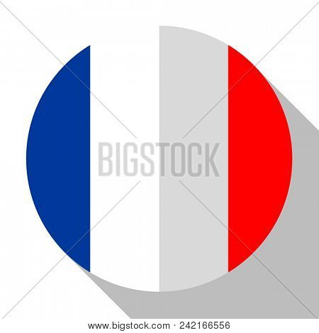 Flag France - round flatstyle button with a shadow.