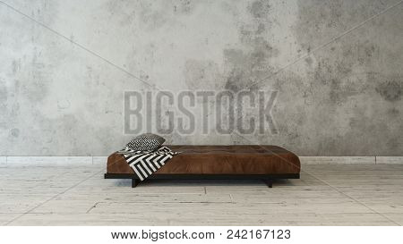 Simple brown day bed with cushion in a minimalist room with grunge textured grey wall and wood floor. 3d rendering