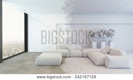 Luxury minimalist monochromatic white living room with large view windows and artistic partial grey overlay. 3d rendering