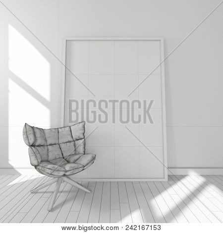 Comfortable stylish cushioned chair in a minimalist white room with a large blank picture frame against the wall. 3d rendering
