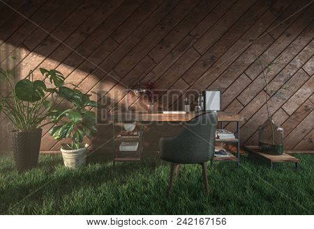 Unusual eco-friendly rustic office in a timber house with simple escritoire, a tub chair and potted plants standing on fresh green grass with sunlight from streaming in a window. 3d rendering