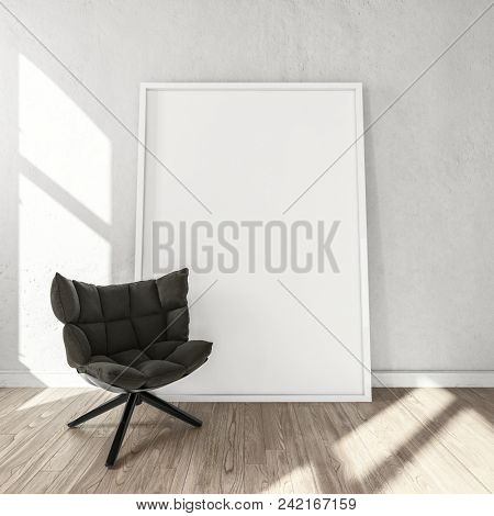 Large blank picture frame or canvas with a padded chair in a bright sunny room with wooden floor and minimalist decor. 3d Rendering