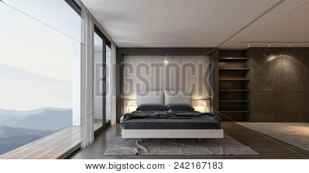 Modern design bedroom interior with big window and amazing view. 3d rendering