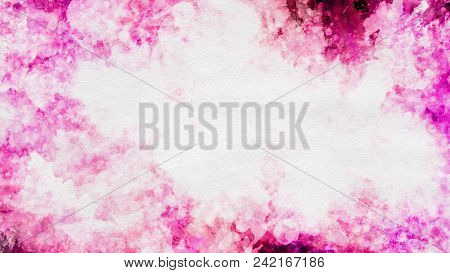 Colorful pink watercolor paint template.