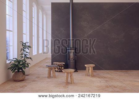 Cozy scandinavian living room interior with fireplace. 3d rendering