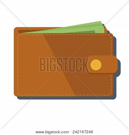 Wallet With Money Vector Illustration. Wallet Isolated On Colored Background. Brown Flat Wallet.