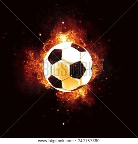 Flaming soccer ball encircled by fiery orange flames and sparks on a dark square format background. conceptual 3d rendering