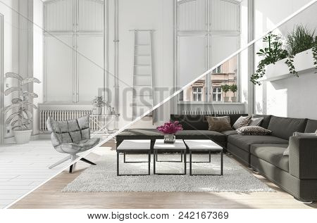 A modern, contemporary living room lounge area with a diagonal split separating colour and black and white versions.