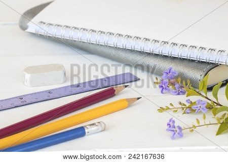 Notebook With Stationery For Study Of Student On Table White