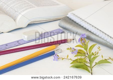 Notebook With Dictionary Book For Study Of Student On Table White
