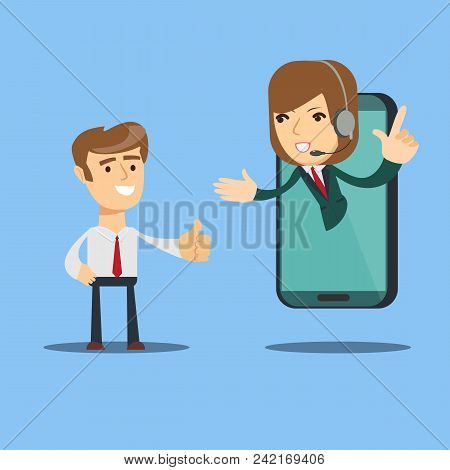 Happy Businessman Give Thumb Up To Call Center Operator On Screen Of Smart Phone. Online Customer Se