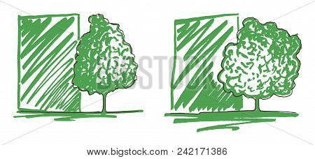 Monochrome Green Trees Silhouette Line Art Sketch Isolated Vector